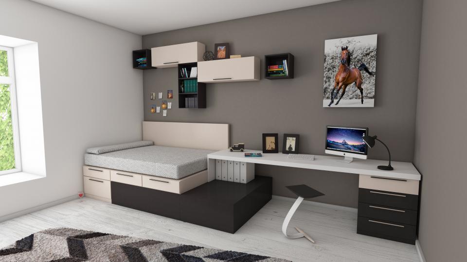 Soba s posteljo in pisalno mizo