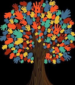 Drevo, ki ima namesto listov pisane dlani različnih oblik