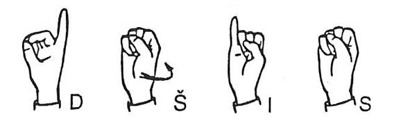 Črke DŠIS prikazane v slovenskem znakovnem jeziku