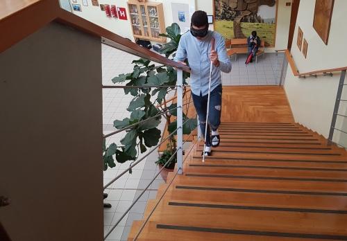 Hoja z belo palico po stopnicah