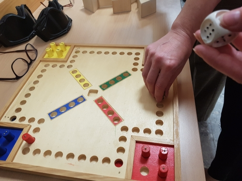 Igranje igre Človek ne jezi se prilagojen za slepe