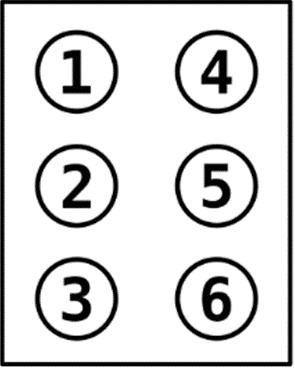 Prikaz brajeve celice v šestočkovni brajici